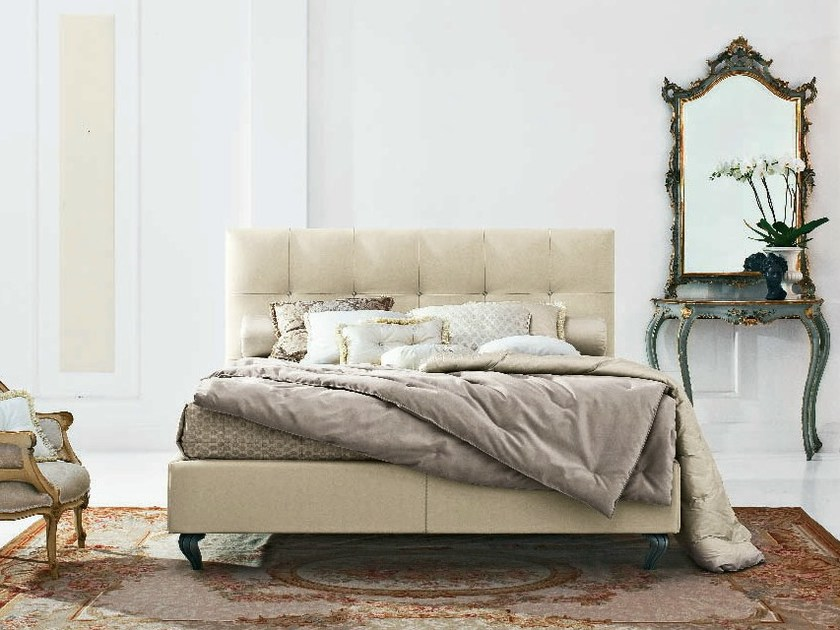 Leather double bed with tufted headboard MAX CAPITONNÈ SOFT by Twils