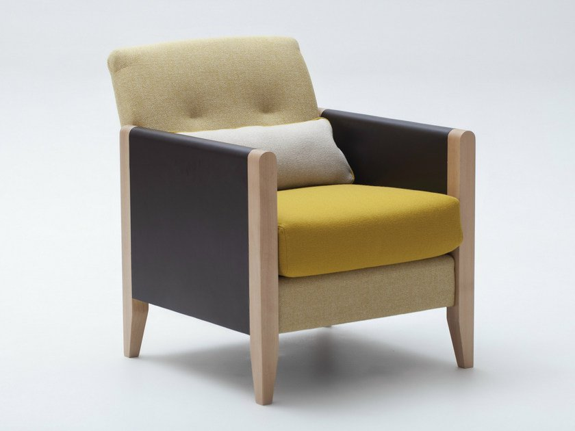 Upholstered fabric armchair with armrests RESIDENT | Armchair by Adentro