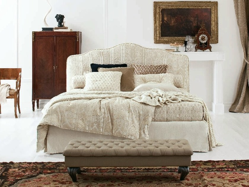 Fabric double bed with upholstered headboard ANASTASIA WITH SKIRT by Twils