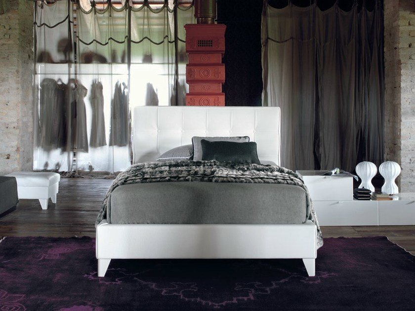 Leather storage bed with tufted headboard MAX CAPITONNÈ CLASSIC | Single bed by Twils
