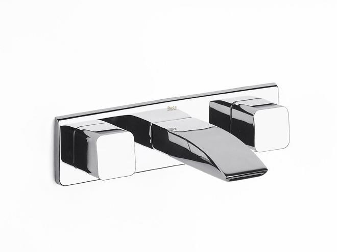 Wall-mounted washbasin tap with plate THESIS | Wall-mounted washbasin tap by ROCA SANITARIO