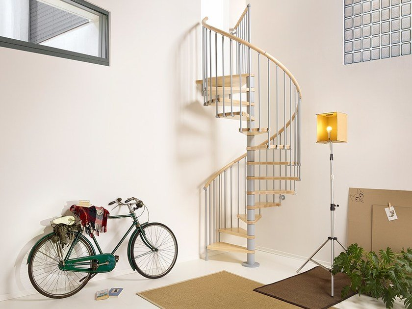 Steel and wood Spiral staircase PIXIMA RING by Fontanot