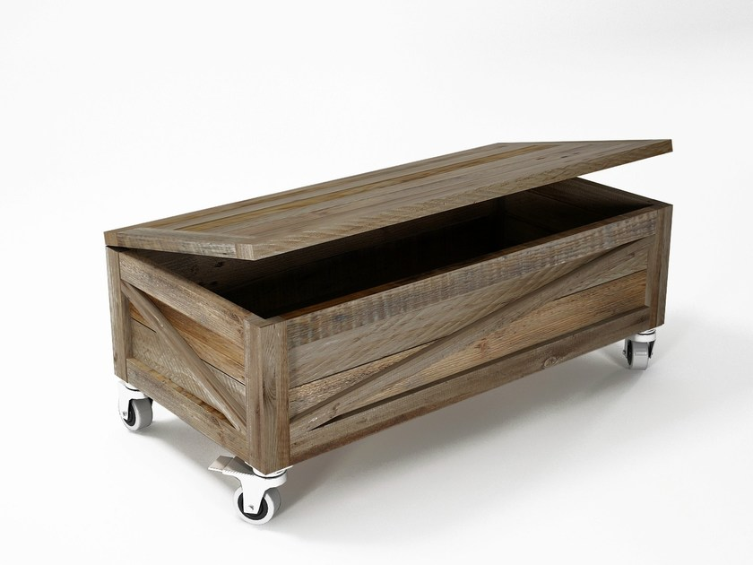 Reclaimed wood storage chest with casters KRATE | Storage chest by KARPENTER