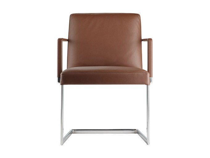 Cantilever upholstered chair with armrests CHANCELLOR CONFERENCE by Poltrona Frau