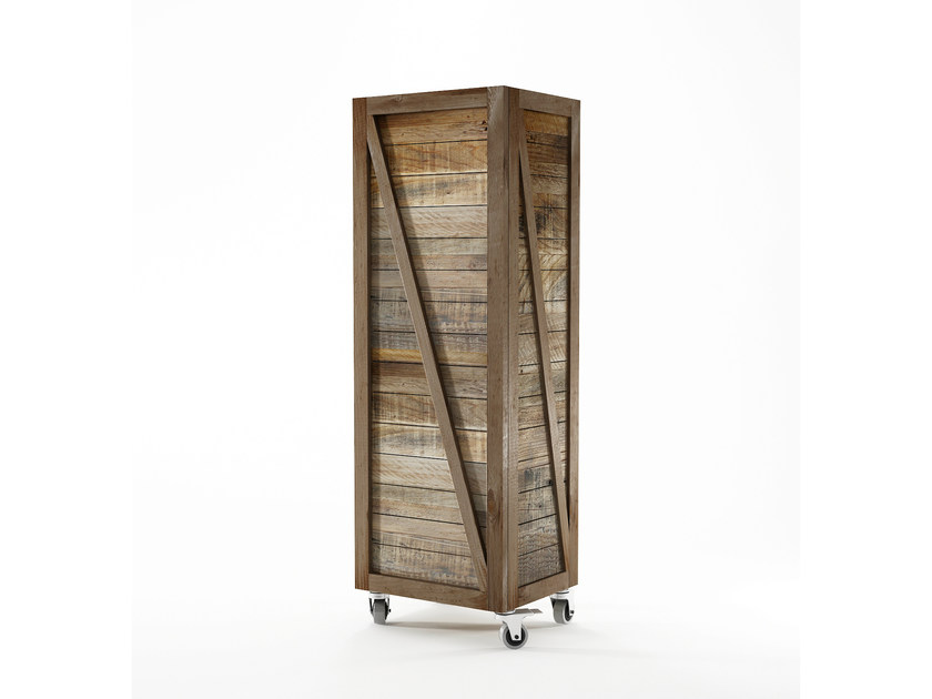 Reclaimed wood wardrobe with 1 door KRATE | Wardrobe by KARPENTER