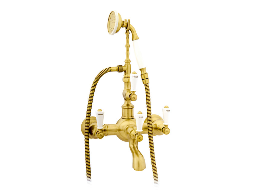 2 hole wall-mounted bathtub tap with hand shower 035016.M00.30   Bathtub tap by Bronces Mestre