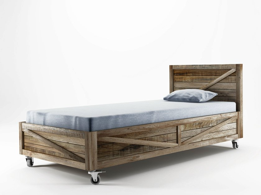 Reclaimed wood single bed KRATE | Single bed by KARPENTER