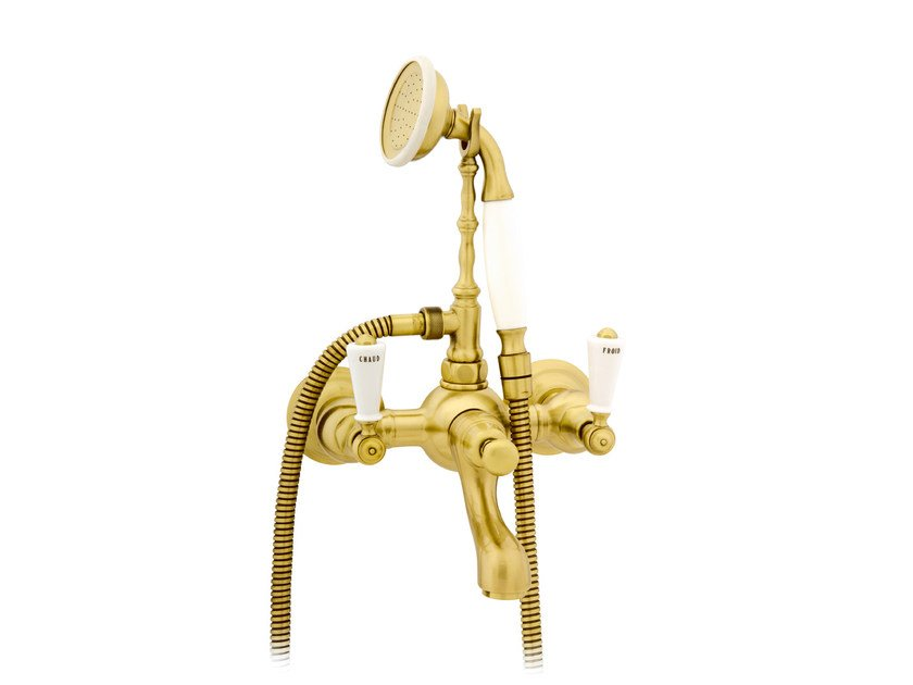Wall-mounted gold colour bathtub tap with hand shower 035018.M00.30   Bathtub tap by Bronces Mestre