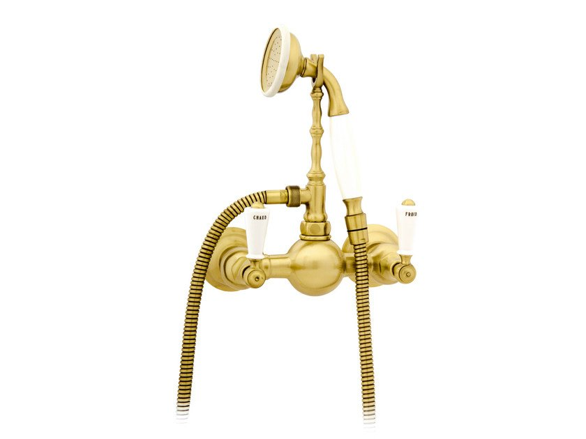Wall-mounted gold colour bathtub tap with hand shower 035019.M00.30 | Bathtub tap by Bronces Mestre
