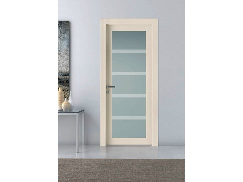 Hinged lacquered wood and glass door BALTIMORA NEW - 2020 PLUS by Bertolotto Porte