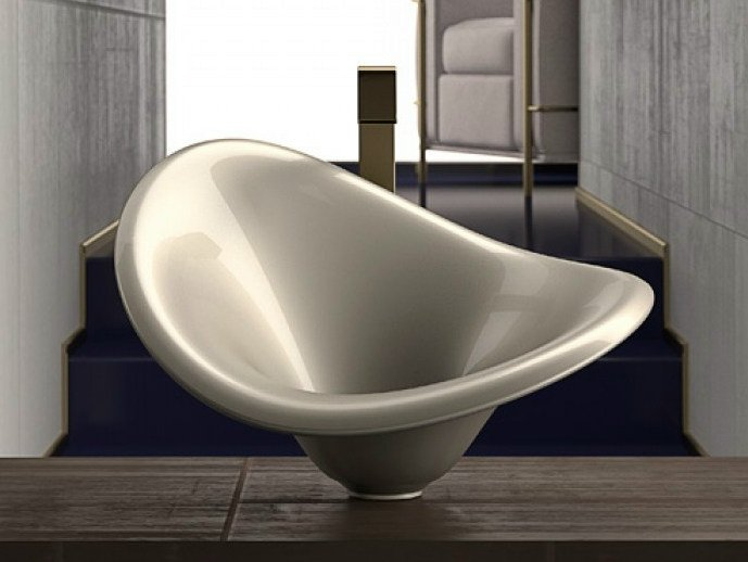 Countertop oval washbasin FLOWER by Glass Design