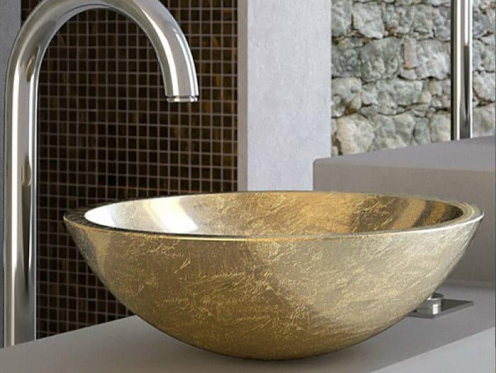 Countertop round Teknoform® washbasin CIRCUS 43 by Glass Design