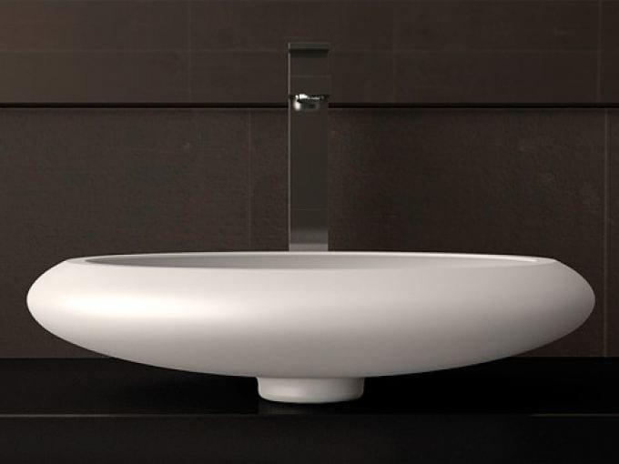 Countertop oval single washbasin STONE by Glass Design