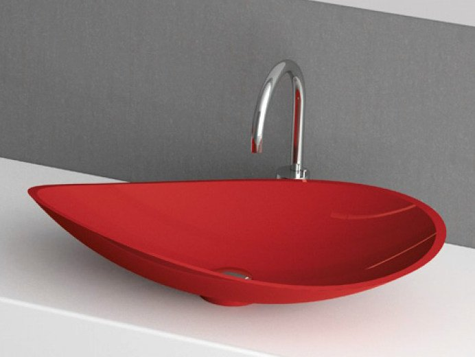 Countertop single washbasin INFINITY COLOUR by Glass Design