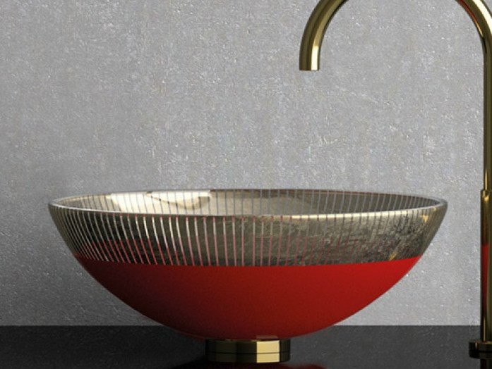 Countertop round glass washbasin FILIGRANA Ø  34 by Glass Design