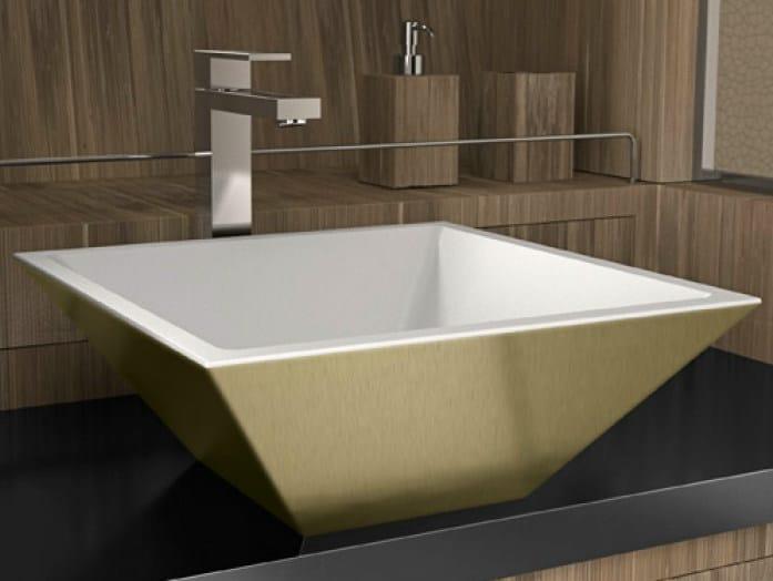 Countertop rectangular washbasin MODO SMALL by Glass Design