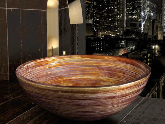 Countertop round washbasin GRAFFITI Ø 34 by Glass Design