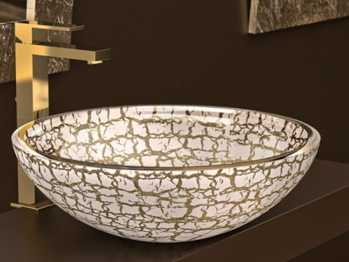 Countertop round glass washbasin KALAHARI Ø 34 by Glass Design