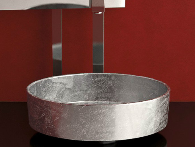 Countertop round washbasin RHO LUX by Glass Design