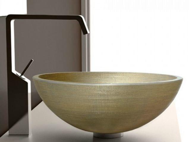 Countertop round glass washbasin VENICE Ø 40 by Glass Design
