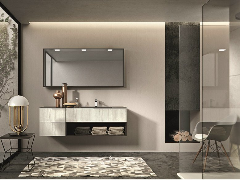 Lacquered wall-mounted vanity unit with drawers GIUNONE 352 by Edoné by Agorà Group