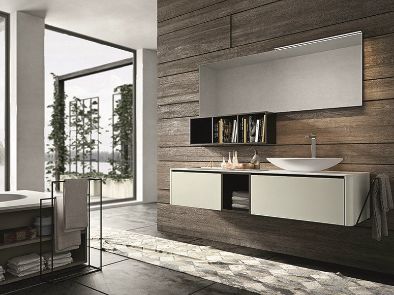 Lacquered wall-mounted vanity unit with drawers GIUNONE 353 by Edoné by Agorà Group