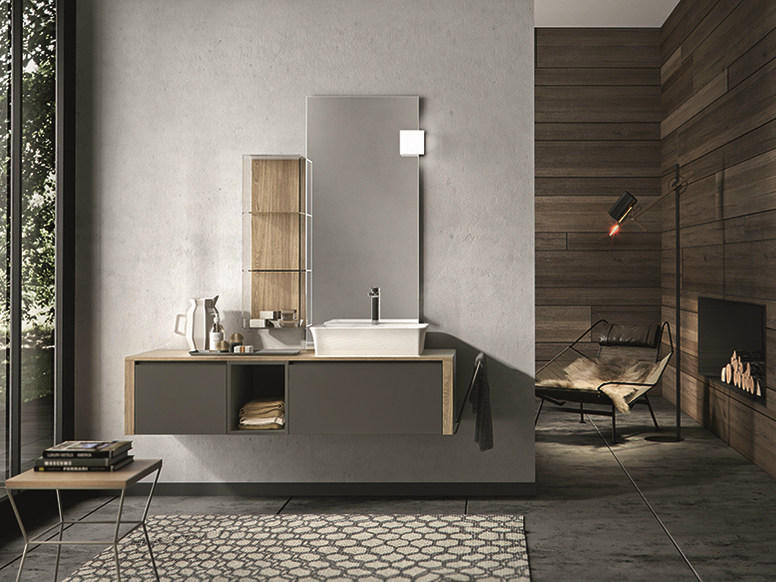 Lacquered wall-mounted vanity unit with drawers GIUNONE 356 by Edoné by Agorà Group