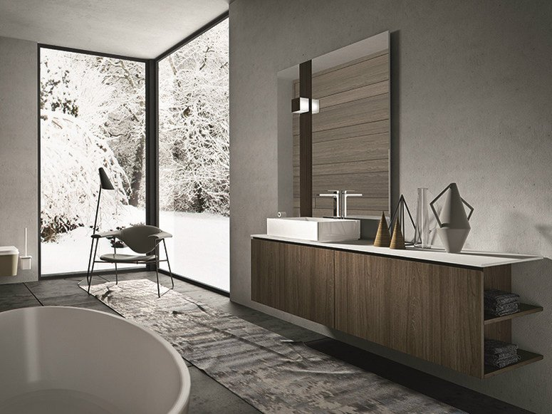 Wall-mounted walnut vanity unit with doors GIUNONE 351 by Edoné by Agorà Group