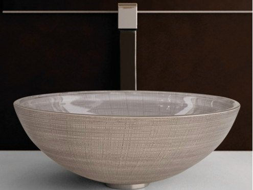 Countertop round glass washbasin VENICE Ø 44 by Glass Design