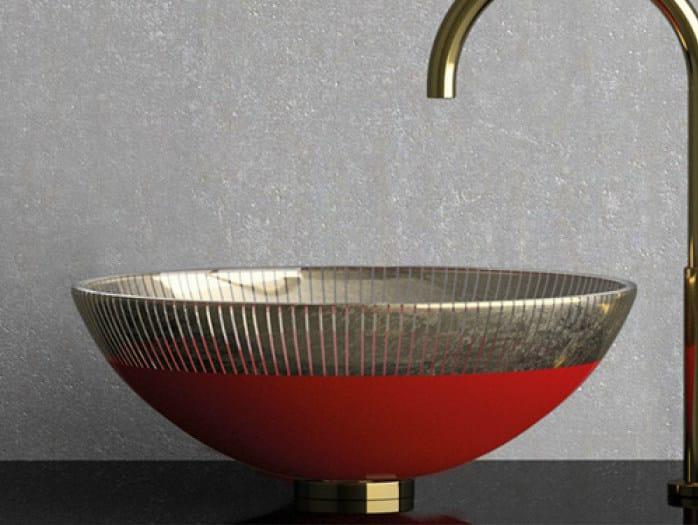 Countertop round glass washbasin FILIGRANA Ø 44 by Glass Design
