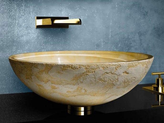 Countertop round washbasin LUNA Ø 44 by Glass Design
