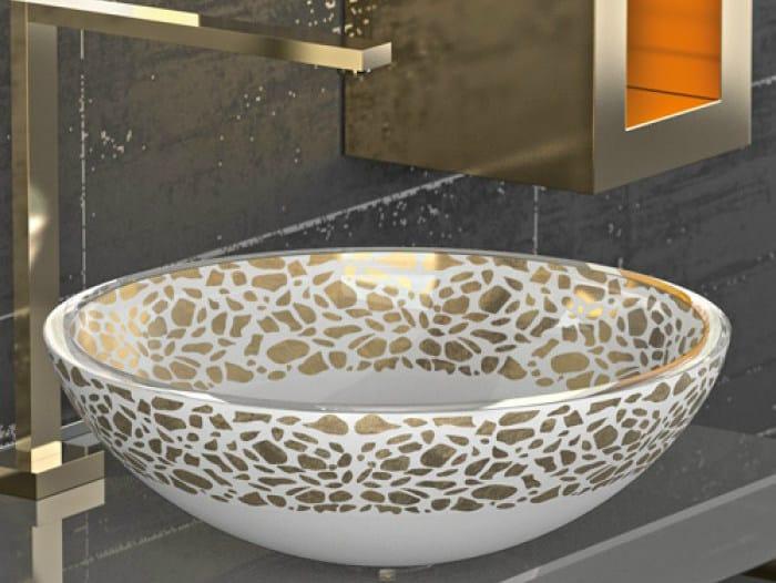 Countertop round glass washbasin FLARE Ø 44 by Glass Design