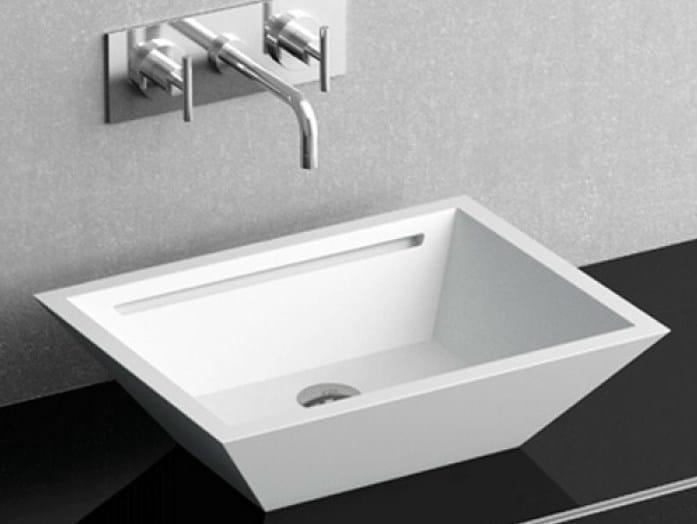 Countertop rectangular single washbasin YACHT by Glass Design