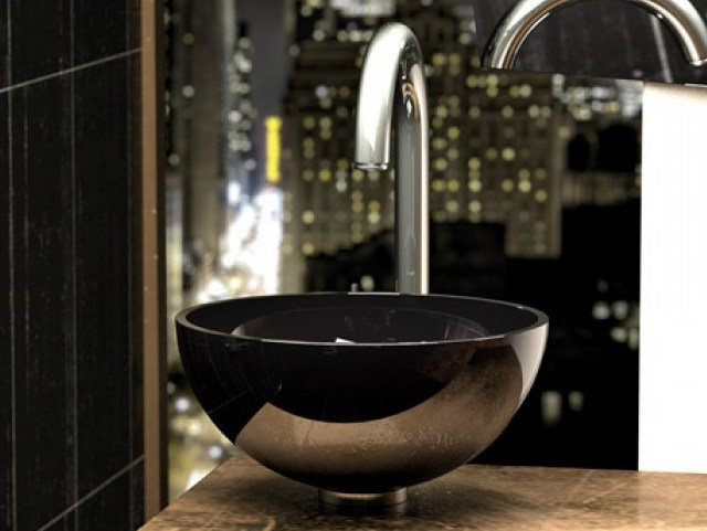 Countertop round crystal washbasin CHELO by Glass Design