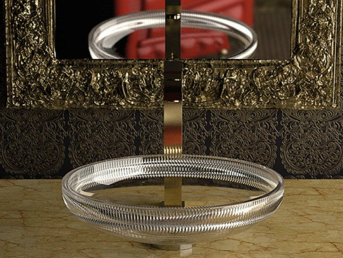 Countertop round crystal washbasin CLIVIA by Glass Design