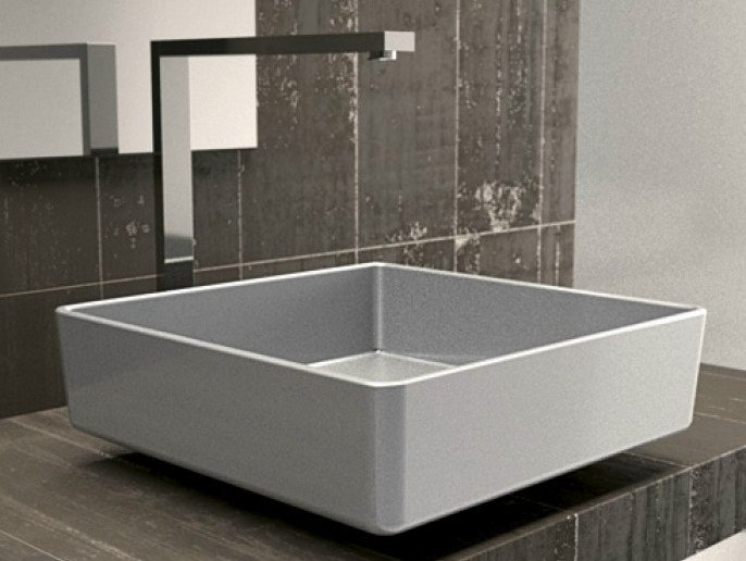Countertop square single washbasin FOUR STARLIGHT by Glass Design