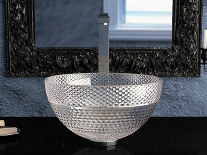 Countertop round crystal washbasin RAMADA by Glass Design