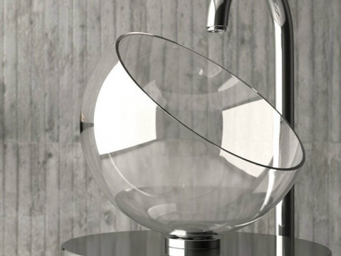 Countertop single crystal washbasin MOON by Glass Design