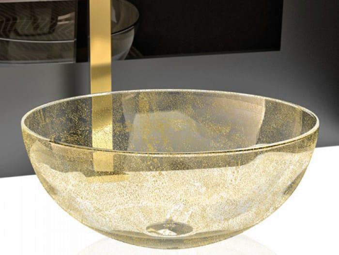 Countertop round Murano glass washbasin LAGUNA ORO by Glass Design