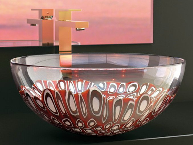 Countertop round Murano glass washbasin LAGUNA ROSSA by Glass Design