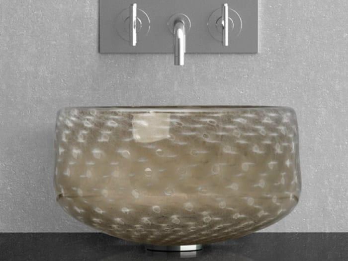 Countertop round Murano glass washbasin OTTICO by Glass Design