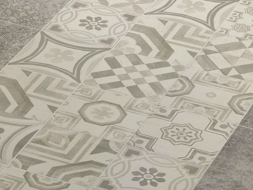 Porcelain stoneware flooring cementine cold by ceramiche keope