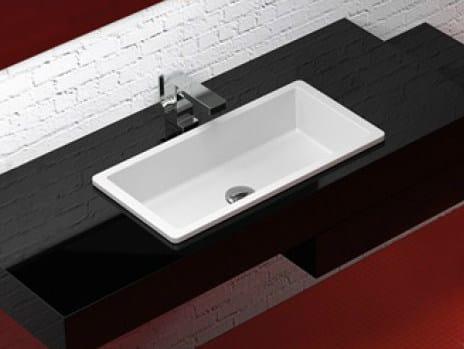 Inset rectangular washbasin RX by Glass Design