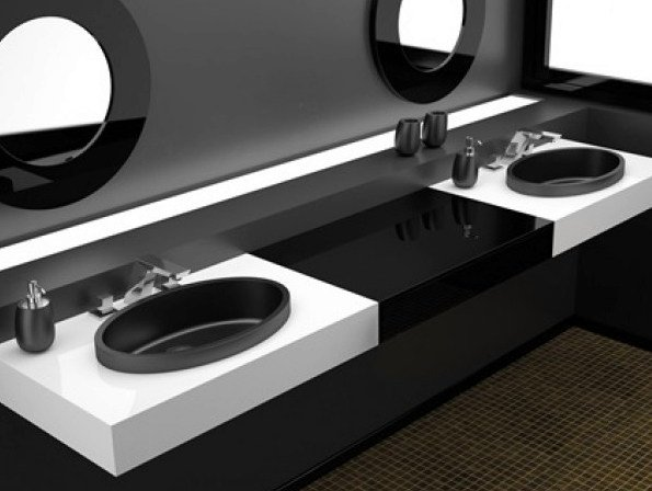 Inset round washbasin ELLISSE FL SMALL by Glass Design
