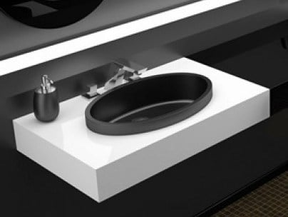Contemporary style inset oval washbasin ELLISSE XL FL by Glass Design