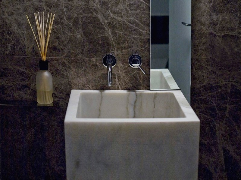 Freestanding single marble washbasin BLOCK by FranchiUmbertoMarmi