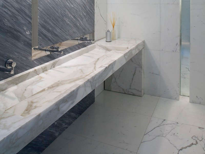 Rectangular marble washbasin with integrated countertop ORIZZONTE by FranchiUmbertoMarmi