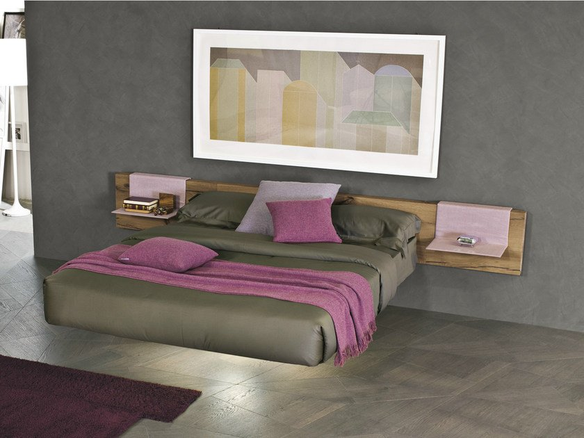 Wooden double bed FLUTTUA WILWOOD By Lago design Daniele Lago