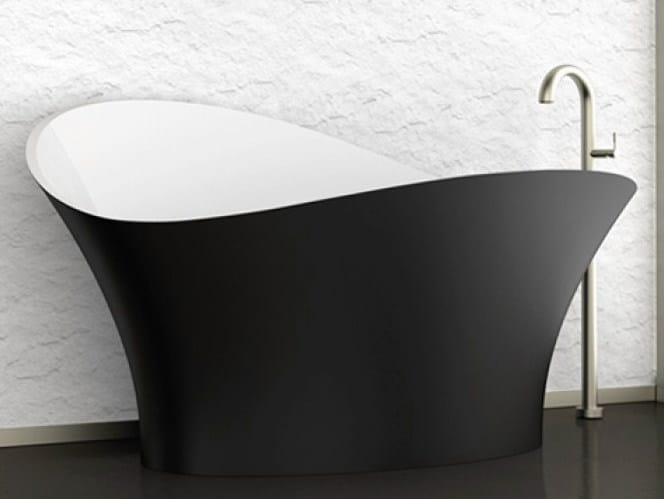 Freestanding bathtub FLOWER STYLE BLACK by Glass Design