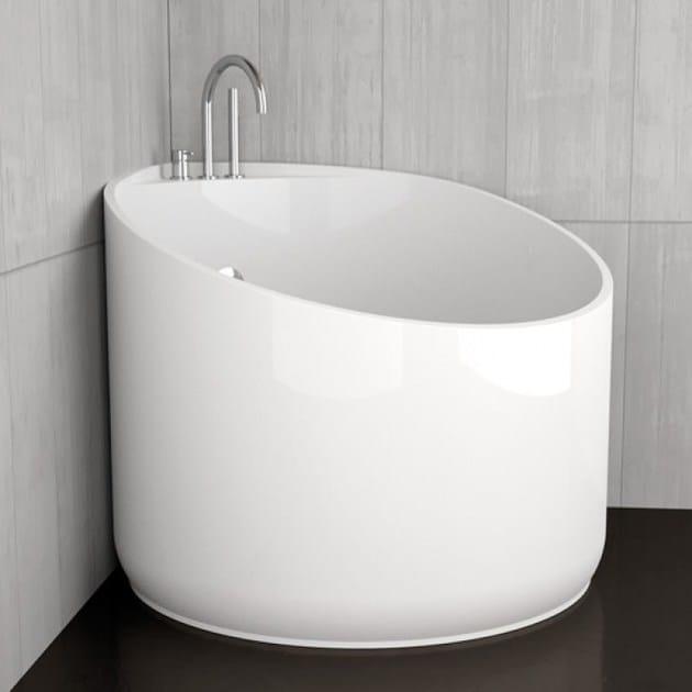 Vasca da bagno angolare rotonda MINI WHITE By Glass Design design Marco Pisati